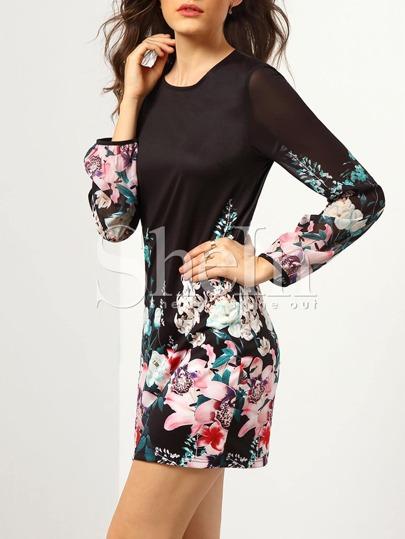 robe fleuri manches longues -Noir