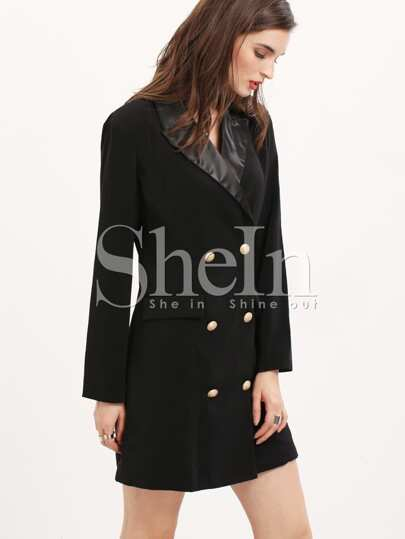 Black Long Sleeve Lapel Dress