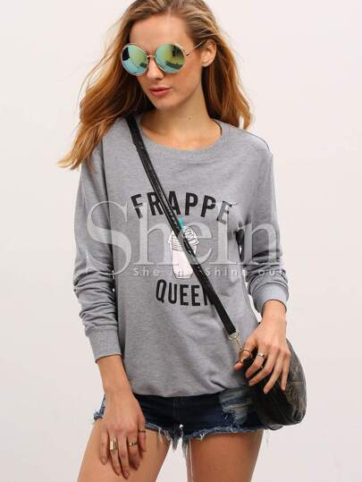 Grey Crew Neck Ice Frappe Queen Print Sweatshirt
