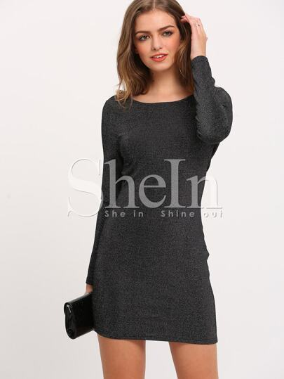 Black Long Sleeve V Back Bodycon Dress