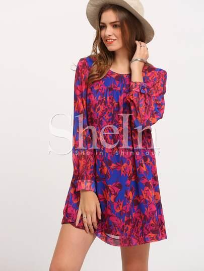 Multicolor Long Sleeve Vintage Print Dress