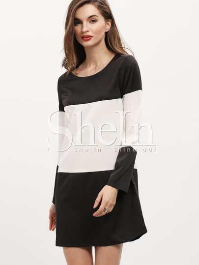 Black White Long Sleeve Color Block Dress