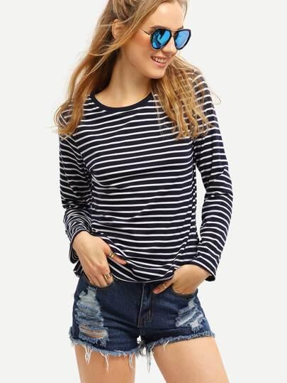 Long Sleeve Striped Blue T-shirt