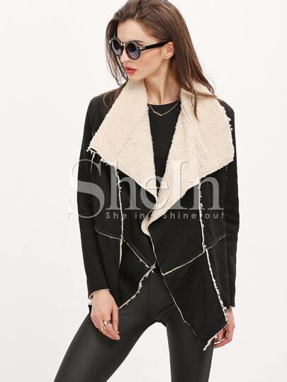 Black Lapel Asymmetric Coat