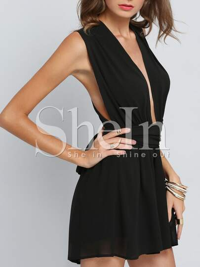 Plunge Neckline Cross Back Romper