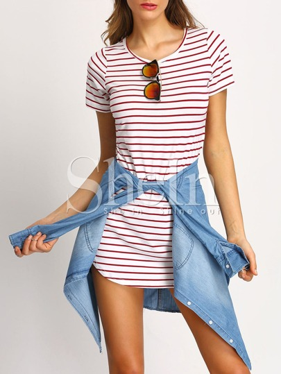 White Striped Shift Dress