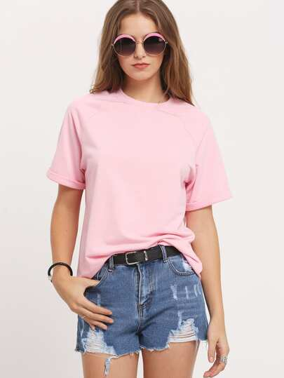 Pink Round Neck Casual Loose T-Shirt