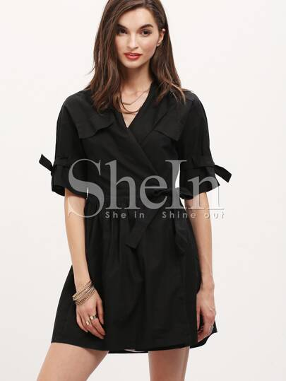 Black Half Sleeve Pockets Trench Coat