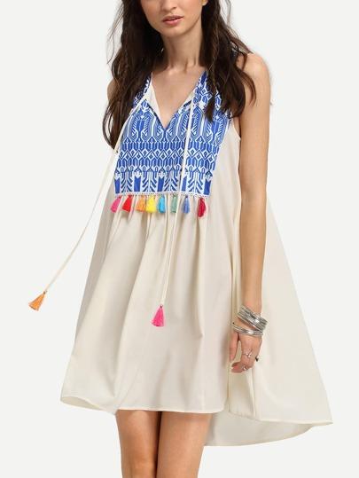 Multicolor Sleeveless Print Tassel Shift Dress