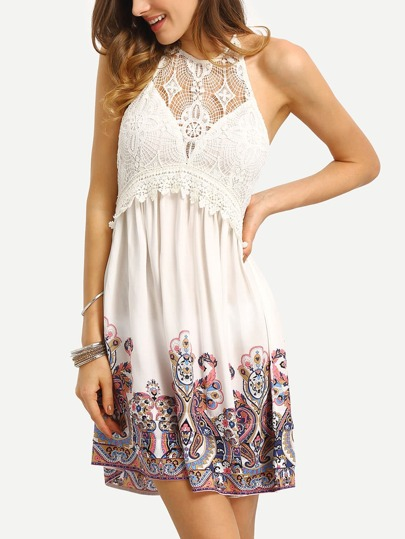 White Print Halter Patchwork Lace Backless Dress