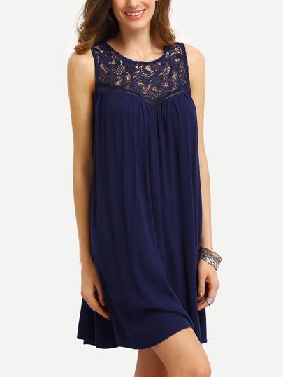 Royal Blue Sleeveless Lace Up Back Pleated Dress