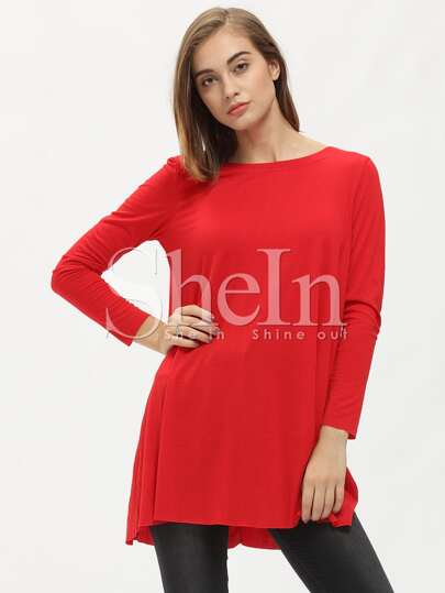 Red Rouge Long Sleeve Round Neck Casual Dress