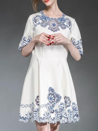 White and Blue Porcelain Half Sleeve Embroidered Flare Dress