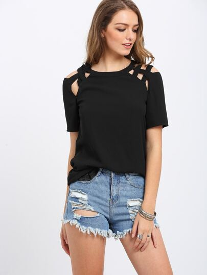 Black Hollow Geometric Back keyhole T-shirt