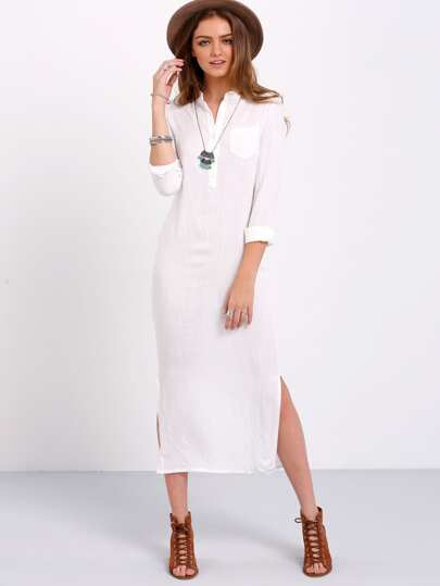 Split Side Shirt Dress With Pocket