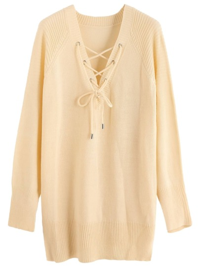Beige Long Sleeve Lace Up Sweater