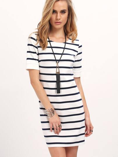 Breton Stripe Shirt Sleeve Dress