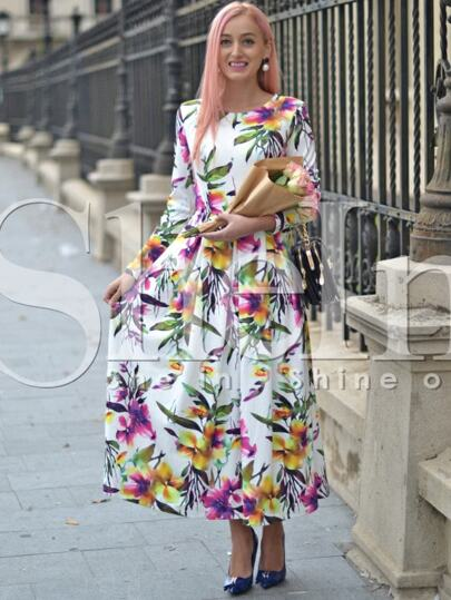 Multicolour Long Sleeve Flowery Floral Pastel Dress