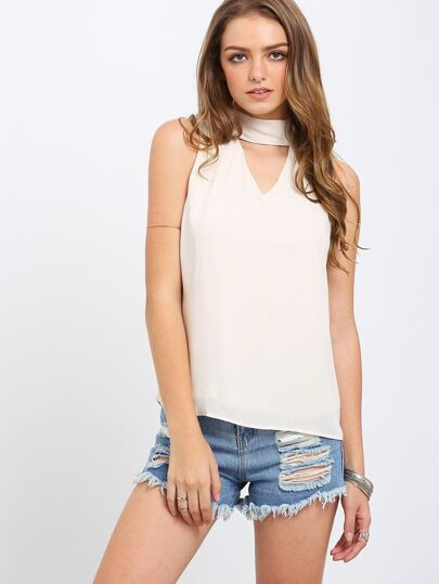 Apricot Tie Neck Back Cut Out Sleeveless Blouse