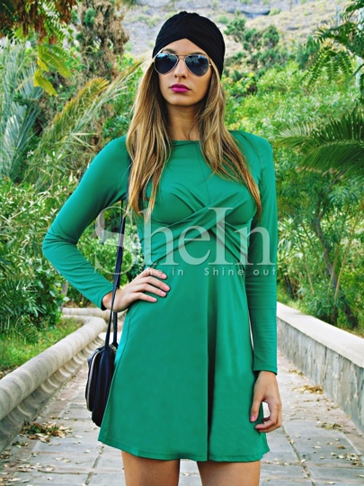 Green Long Sleeve A Line Dress