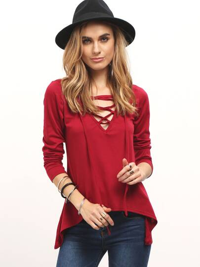 Red V Neck Lace Up Loose T-Shirt