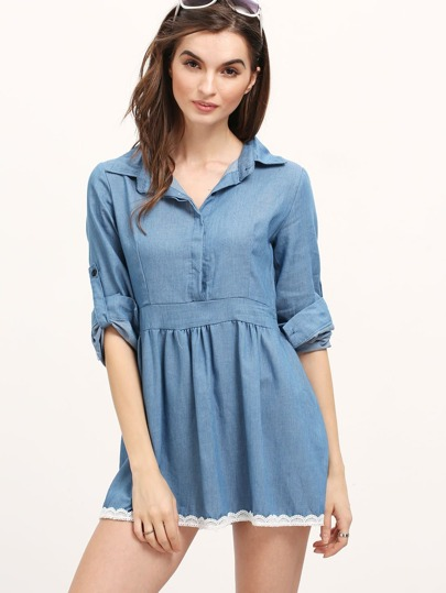 Lapel Contrast Hem Denim Shirt A-Line Dress