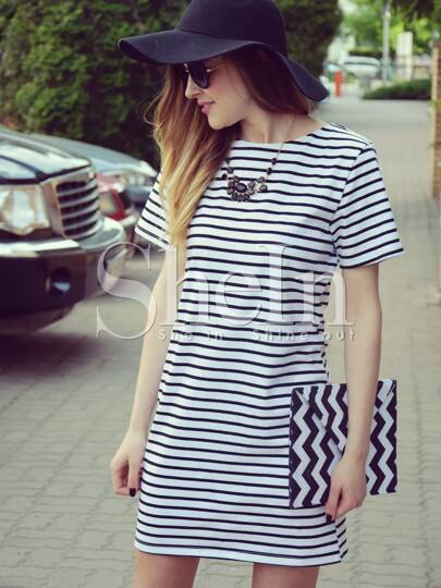Contrast Striped Short Sleeve Straight Dress