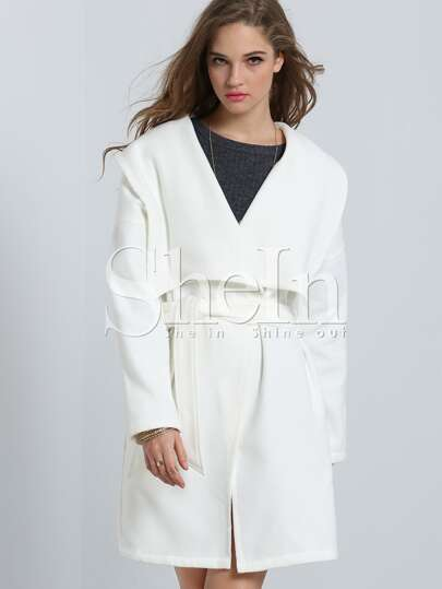 White Lapel Pockets Trench Coat