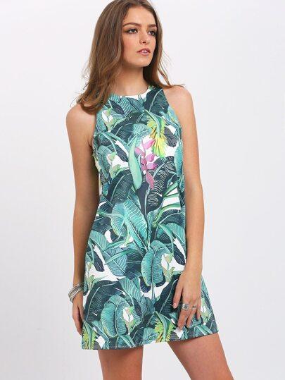 Green Print Pockets Keyhole Back Dress