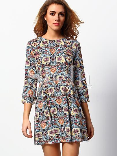 Multicolor A Line Vintage Print Dress