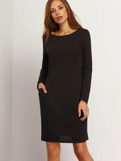 Black Boat Neck Pocket Sheath Dress