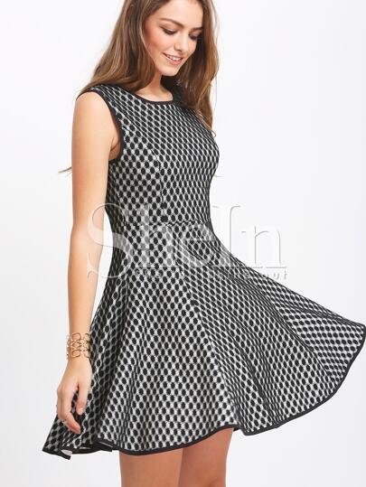 Black Sleeveless Embellished Flare Dress