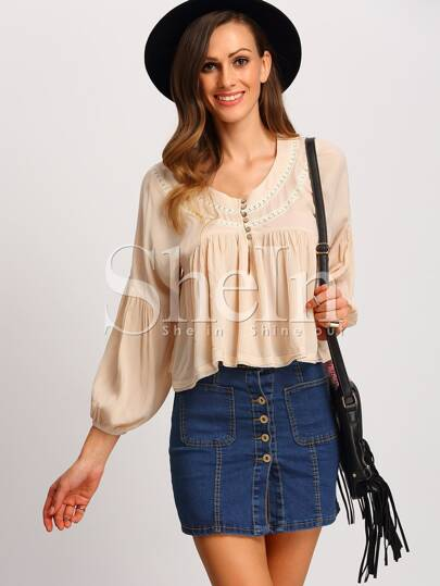 Apricot Long Sleeve Ruffle Blouse