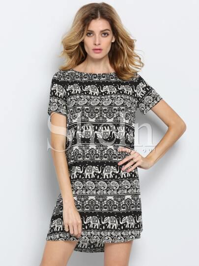 Black White Short Sleeve Camo Elephant Print Dress