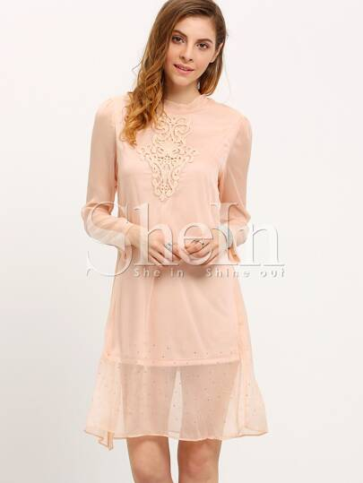 Pink Crew Neck Embroidered Shift Dress