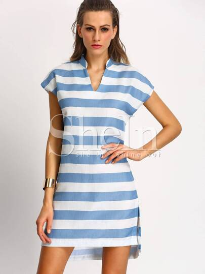 White Blue Short Sleeve V Neck Striped Dress