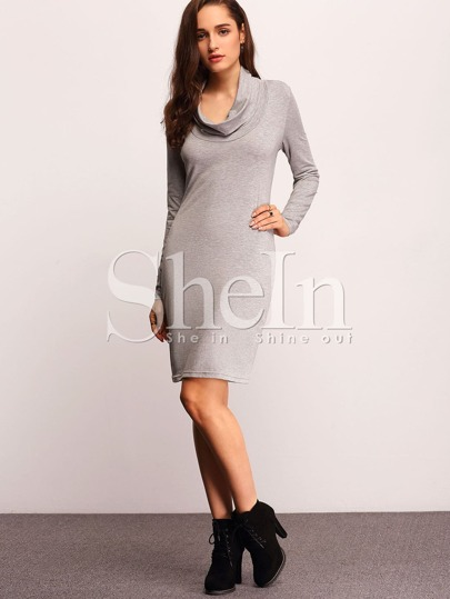 Grey Long Sleeve Turtleneck Sheath Dress