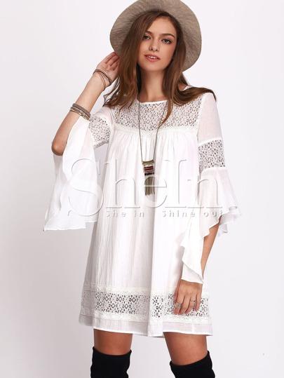 Beige Lace Embroidered Keyhole Back Dress