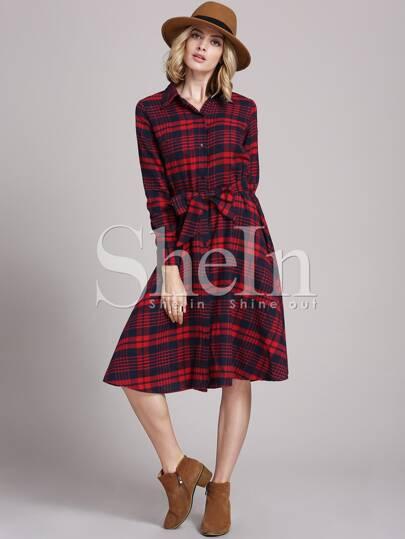 Red Long Sleeve Informal Lapel Grid Plaid Dress