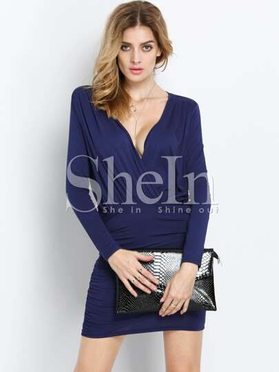 Navy Long Sleeve Deep V Neck Wrinkle Ruched Wraparound Bodycon Dress