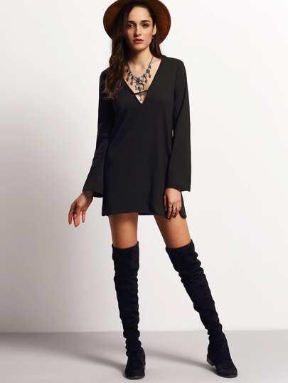 Black Deep V Neck Long Sleeve Loose Dress