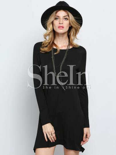 Black Long Sleeve Casual Tshirt Dress
