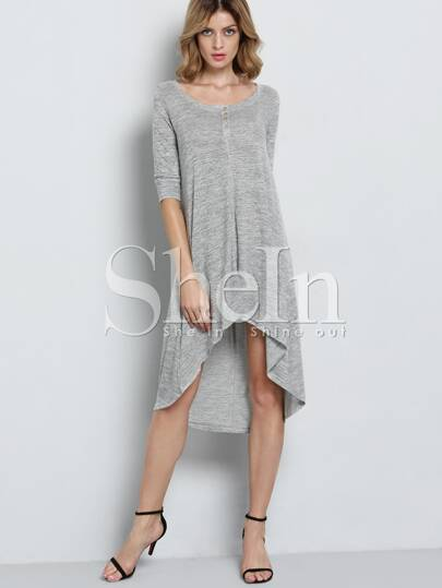 Grey Half Sleeve Hearts High Low Charcoal Dress