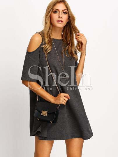 Grey Cold Shoulder Shift Dress