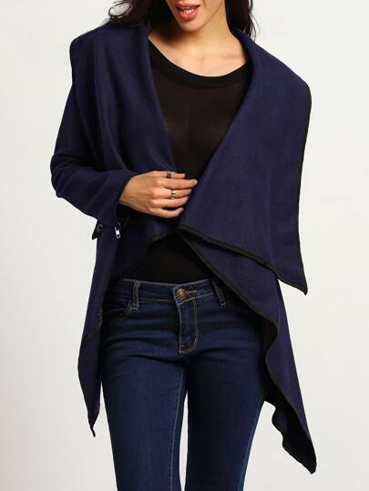 Turtleneck Zipper Asymmetrical Royal Blue Coat