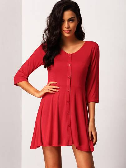 V Neck Knit Button-Down A-Line Sweet Mature Elegantly Red Dress
