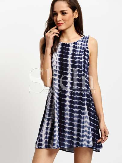 Blue Sleeveless Color Block Dress Sundress