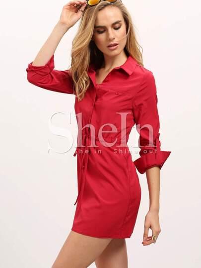 Red Long Sleeve Lapel Drawstring Dress