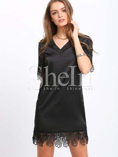 Black Lbd V Neck Elbow Sleeve With Lace Dress
