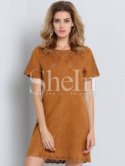 Brown Short Sleeve Zipper Dress